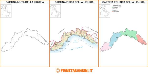 Cartina Della Liguria Politica.Cartina Muta Fisica E Politica Della Liguria Da Stampare Pianetabambini It