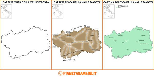 Cartina della Valle D'Aosta da stampare gratis
