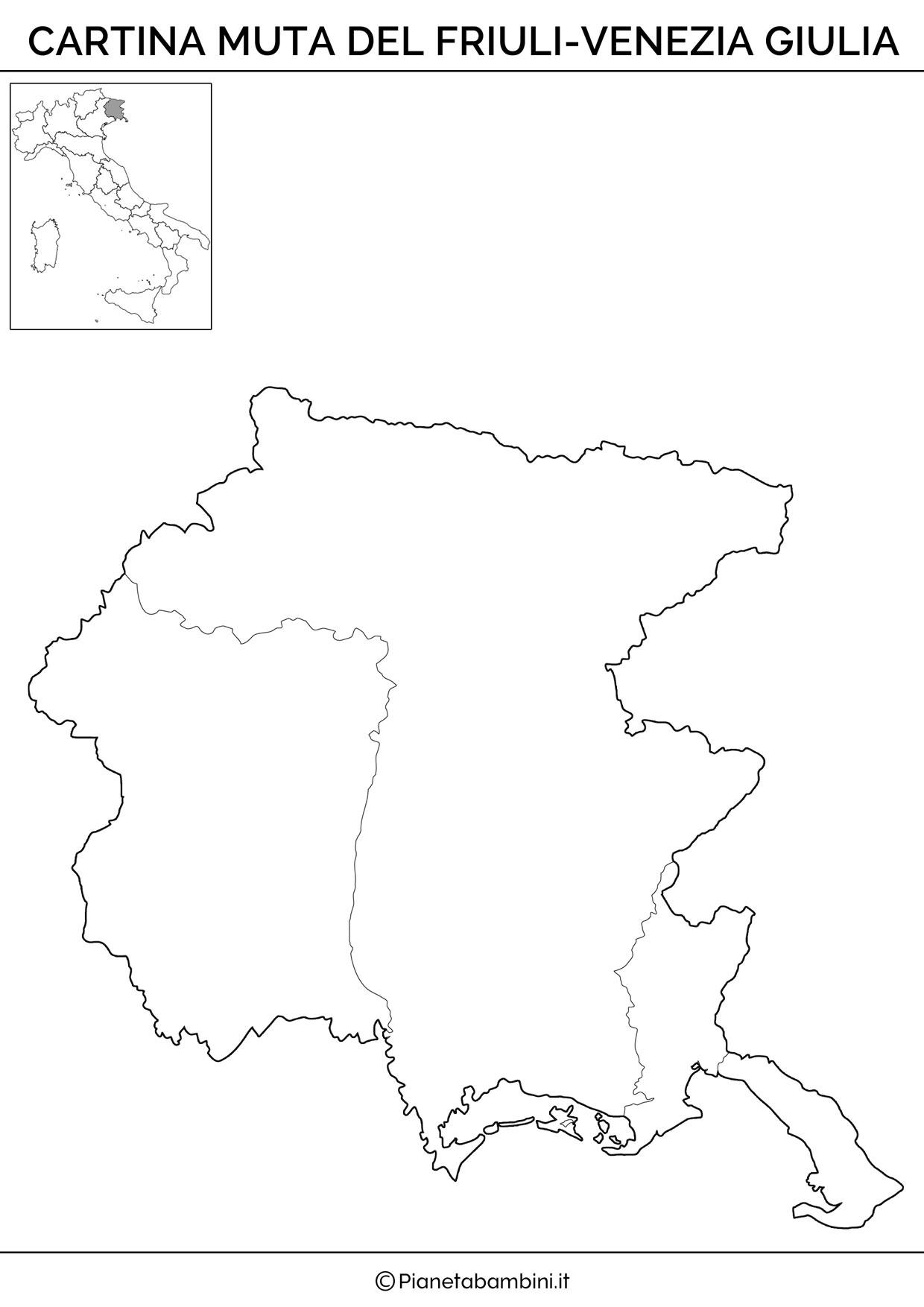 Cartina muta del Friuli Venezia Giulia da stampare gratis