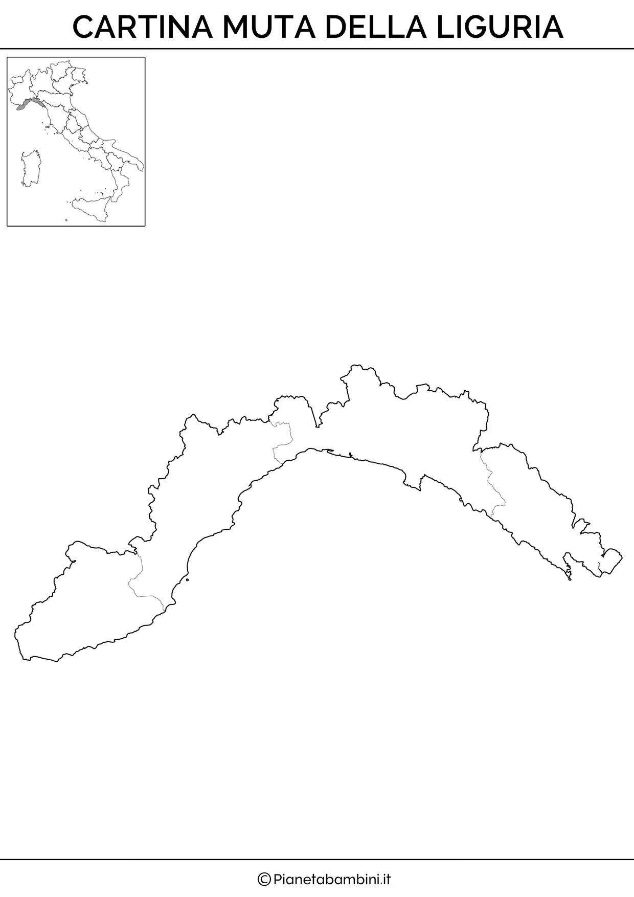 Cartina muta della Liguria da stampare gratis