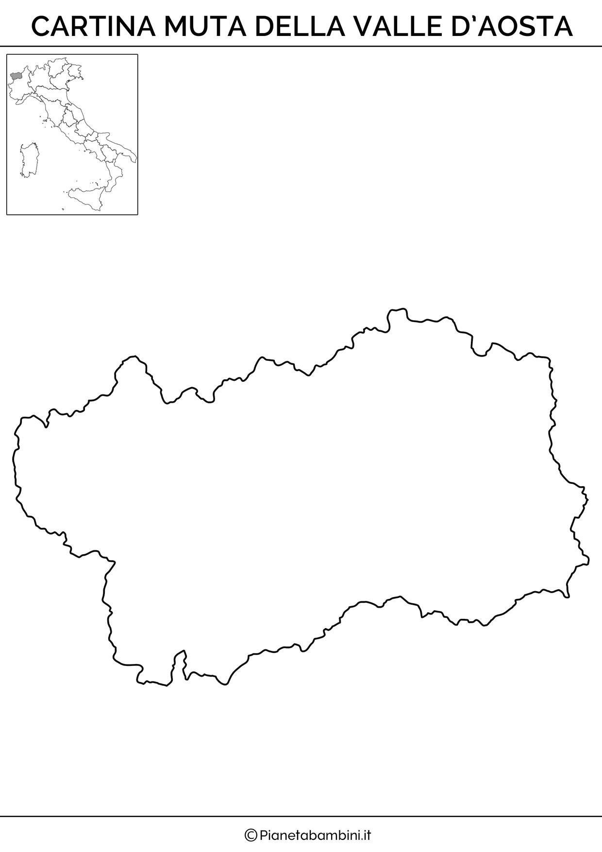 Cartina muta della Valle D'Aosta da stampare gratis