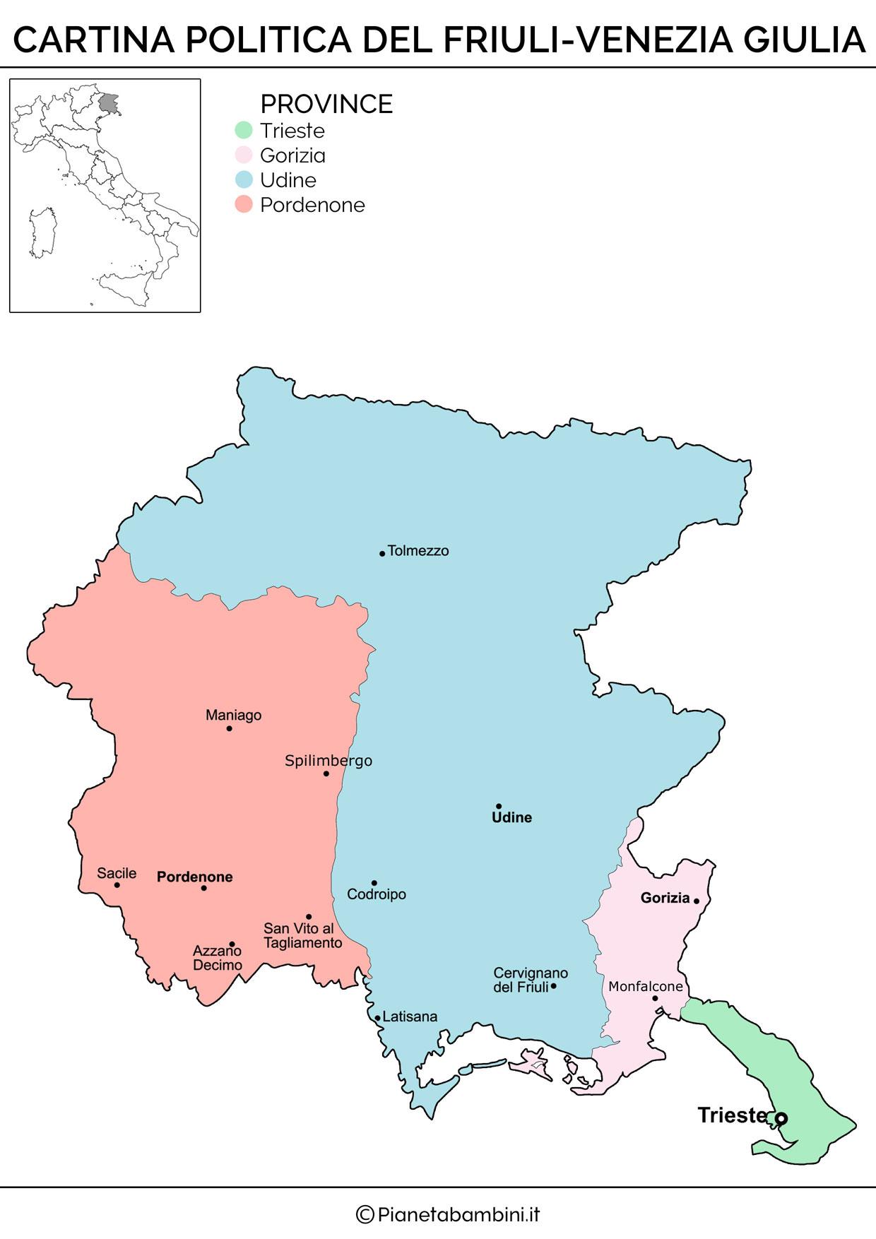 Cartina politica del Friuli Venezia Giulia da stampare gratis