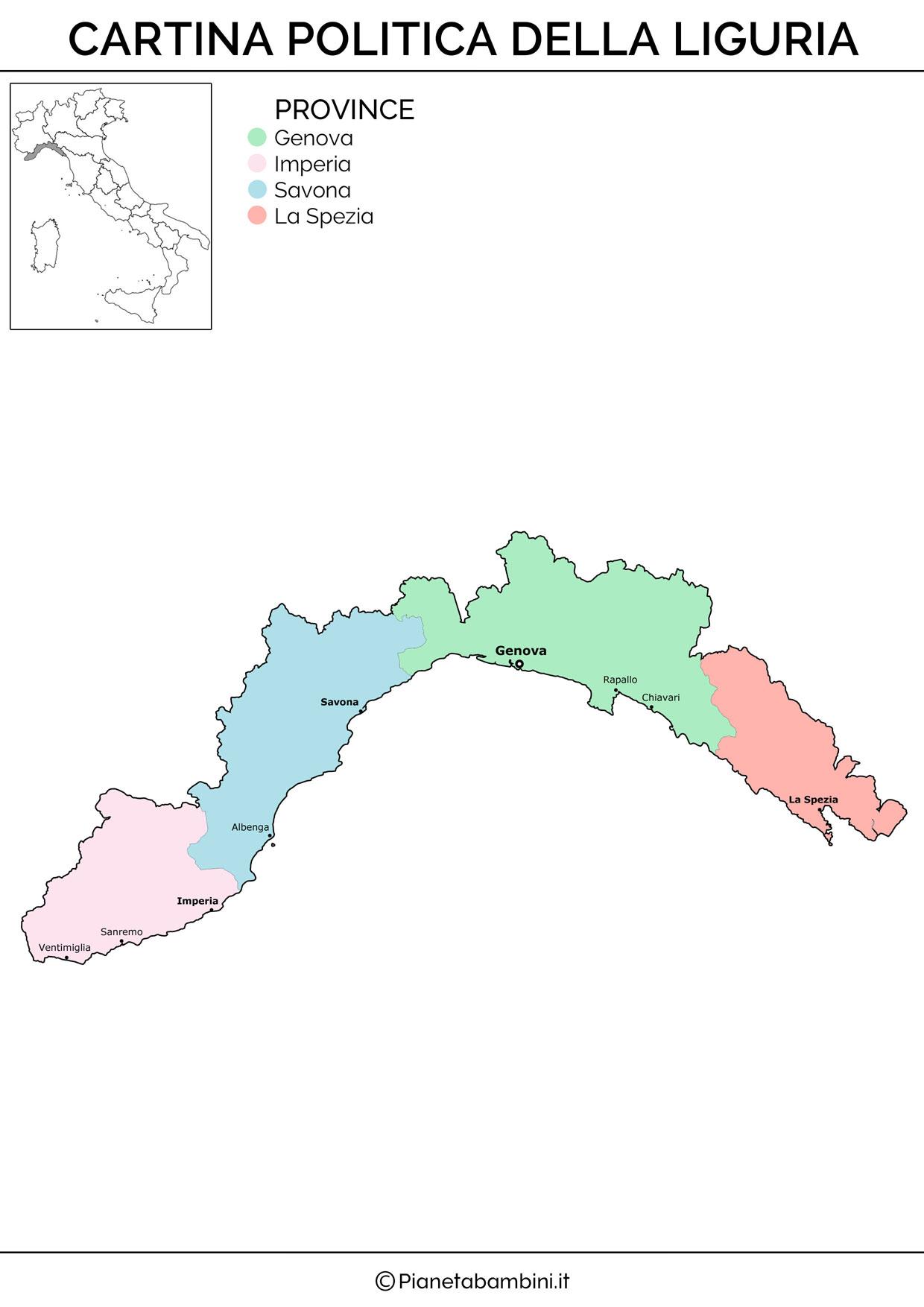 Cartina politica della Liguria da stampare gratis
