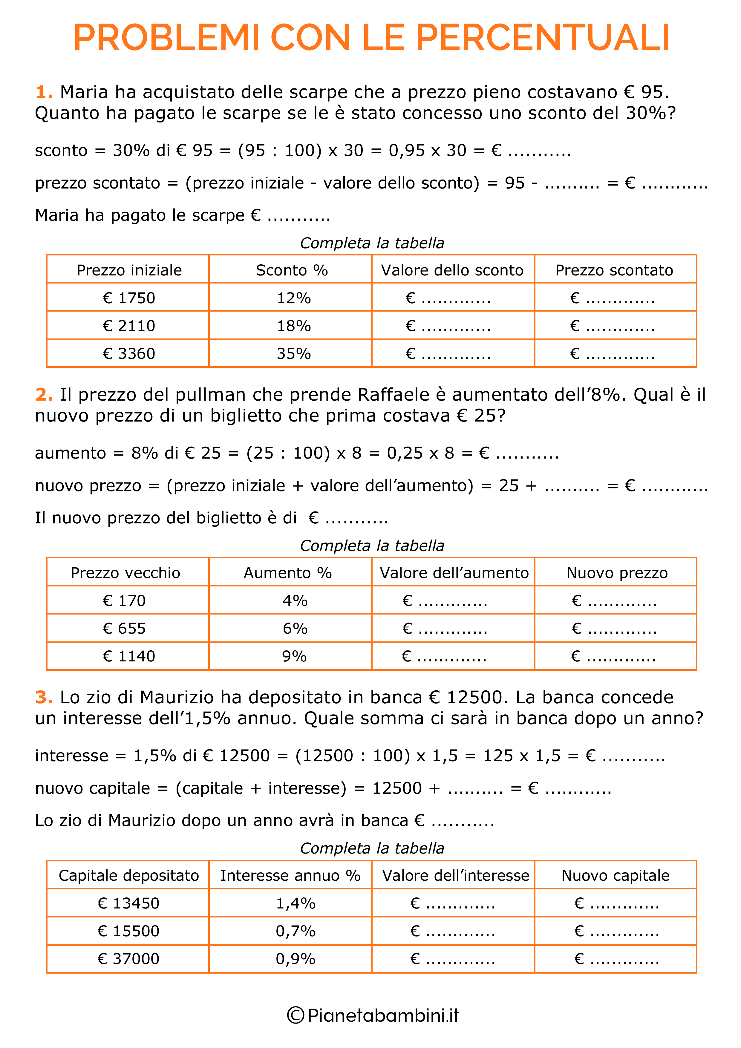 Problemi con le percentuali per la scuola primaria 1