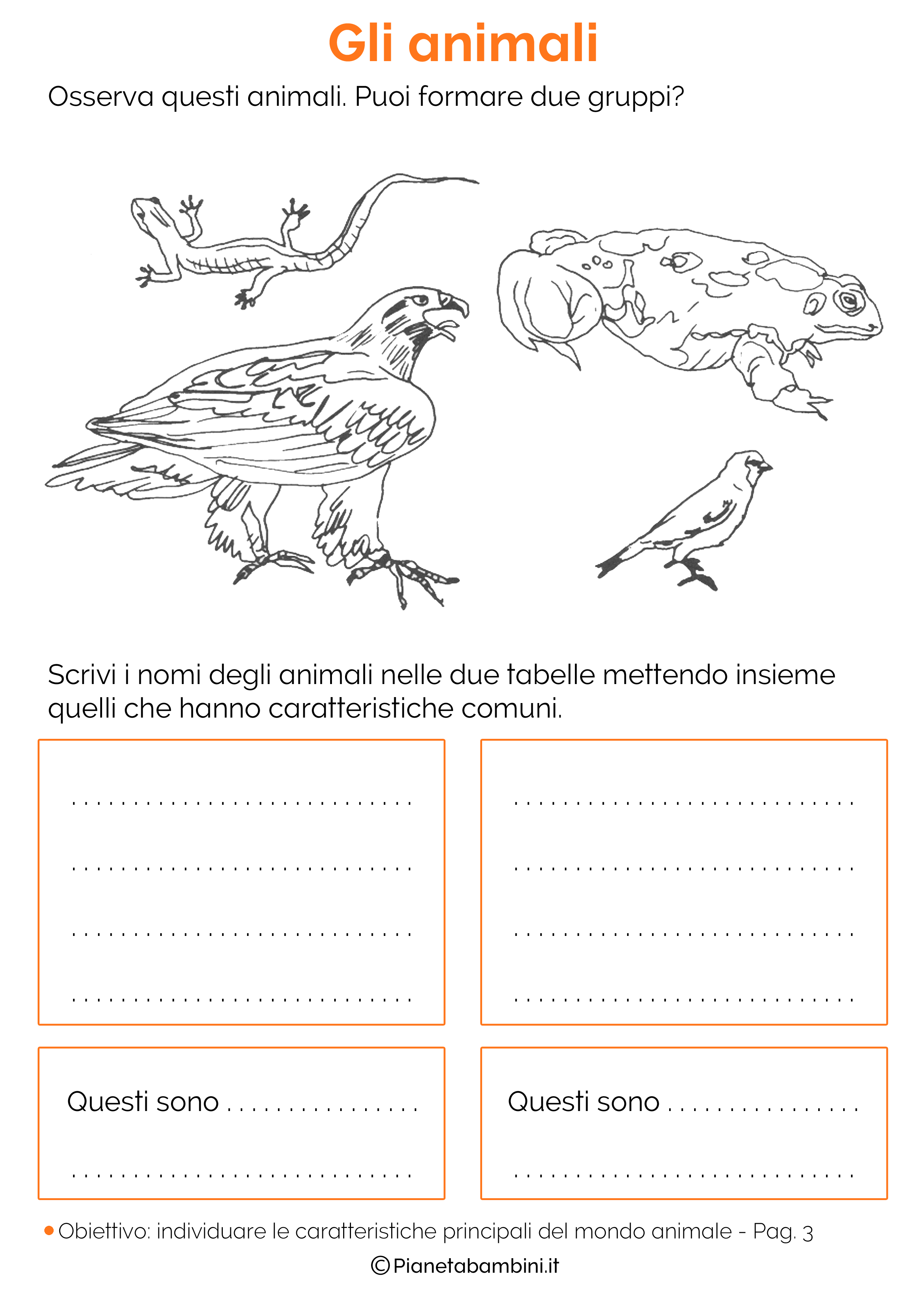 Esercizi sulla classificazione degli animali 03