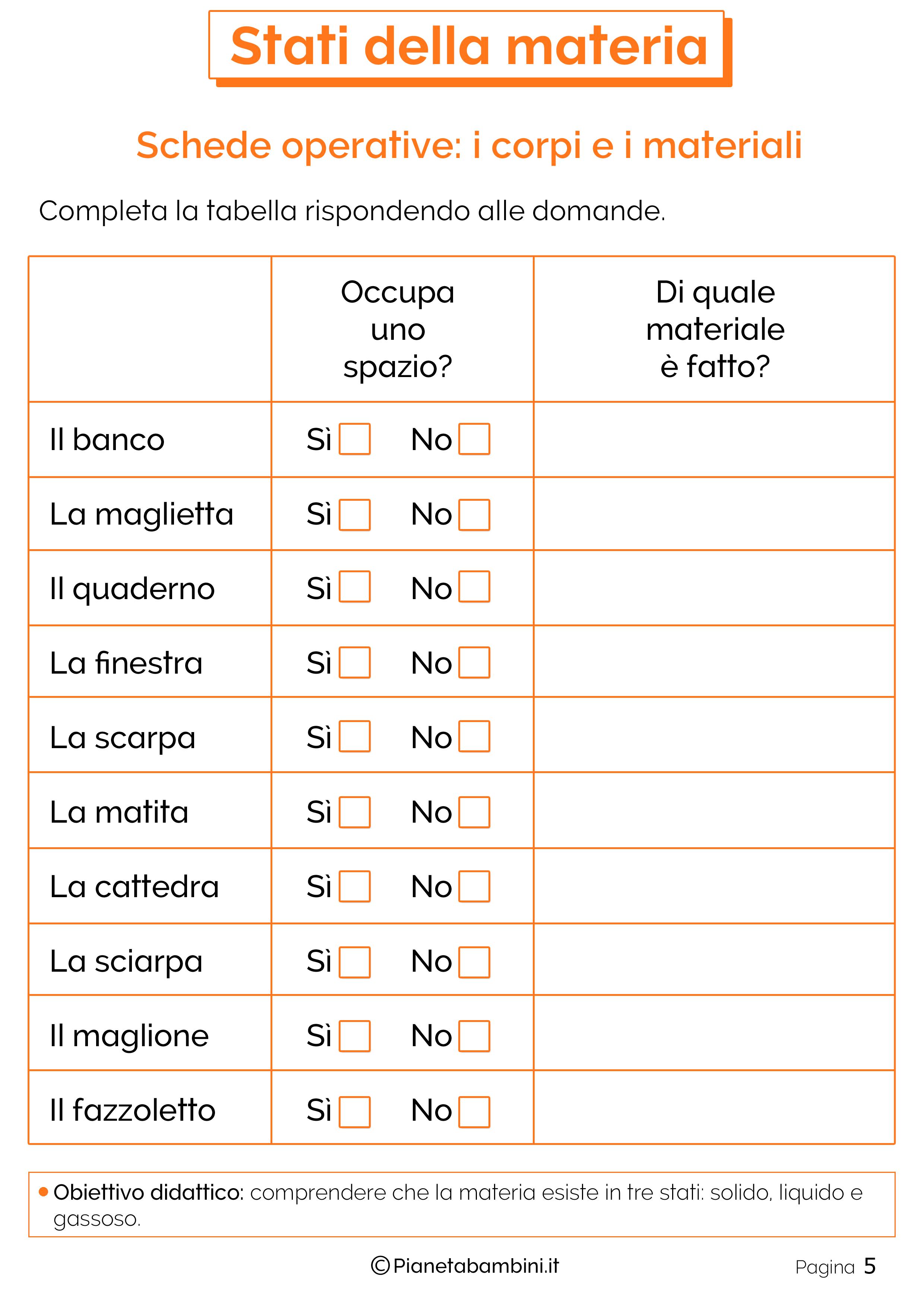 Scheda didattica sugli stati della materia 5