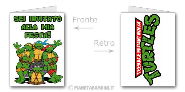 Invito di compleanno delle Tartarughe Ninja da stampare gratis n.02
