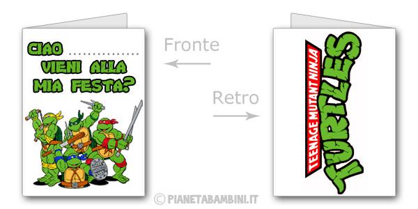 Invito di compleanno delle Tartarughe Ninja da stampare gratis n.03