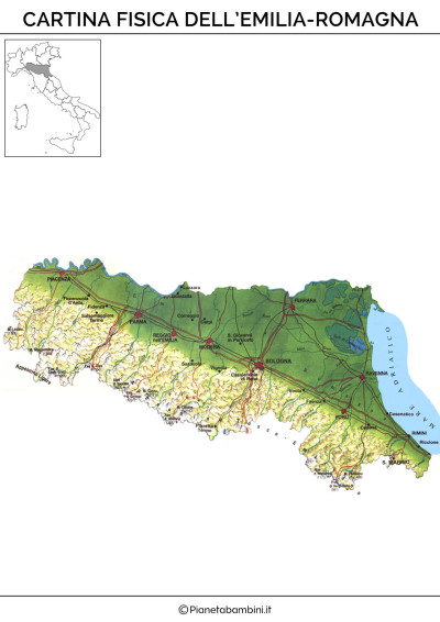 Cartina Dell Emilia Romagna Politica.Cartina Muta Fisica E Politica Dell Emilia Romagna Da Stampare