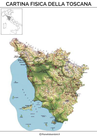 Cartina fisica della Toscana da stampare gratis