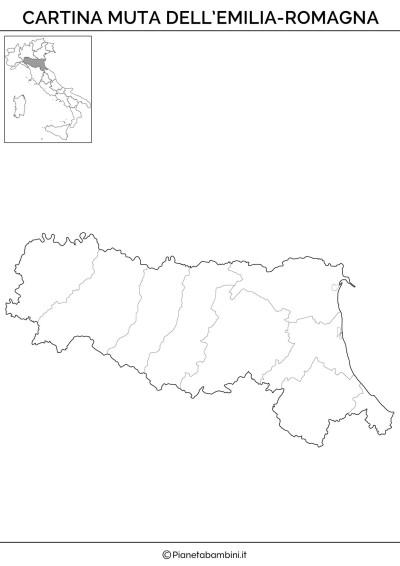 Cartina muta dell'Emilia Romagna da stampare gratis