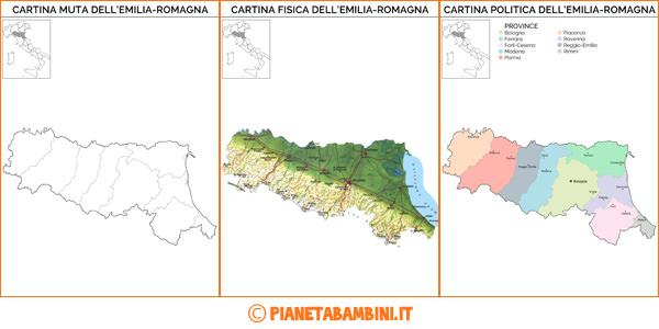 Cartine dell'Emilia Romagna da stampare gratis