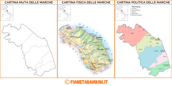 Cartina Dell Umbria Da Stampare.Cartina Muta Fisica E Politica Delle Marche Da Stampare Pianetabambini It