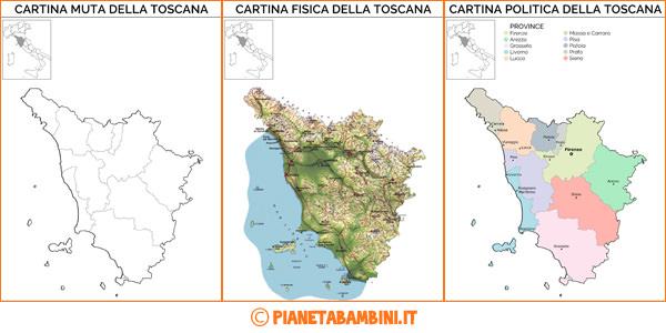 Cartina della Toscana da stampare gratis