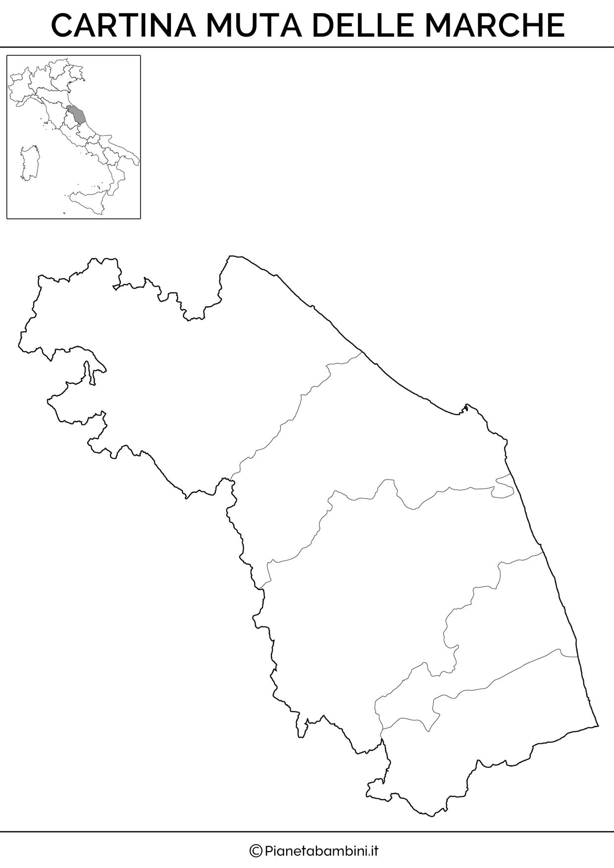 Cartina delle Marche in versione muta
