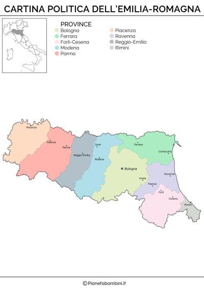 Cartina politica dell'Emilia Romagna da stampare gratis