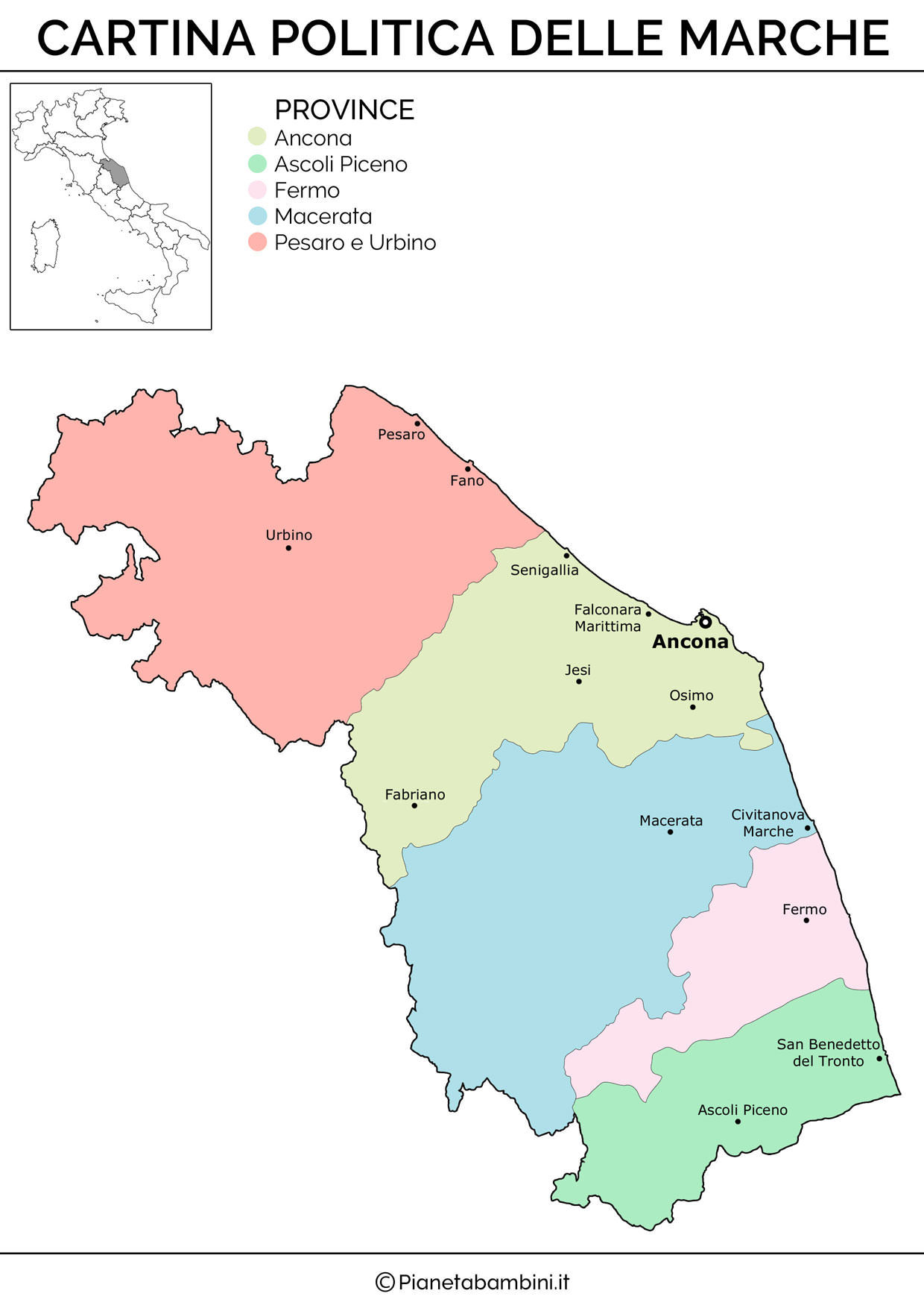 Cartina delle Marche in versione politica