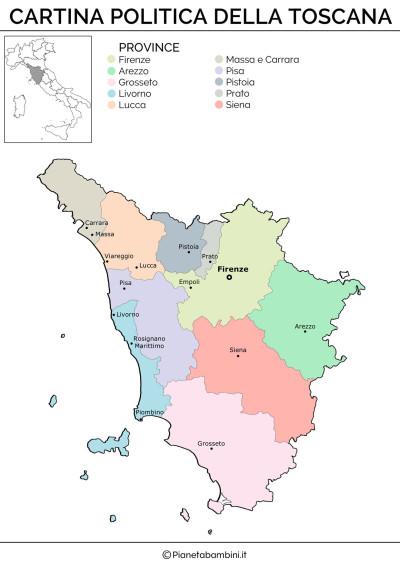 Cartina politica della Toscana da stampare gratis