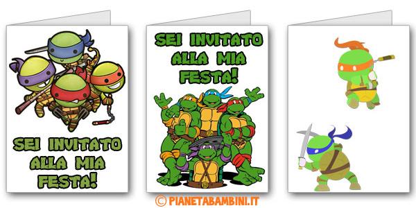 Biglietti di inviti per compleanno delle Tartarughe Ninja