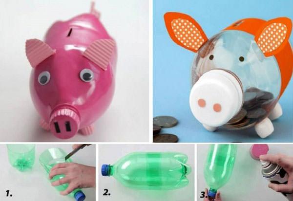 20 idee per lavoretti con bottiglie di plastica per for Plastic bottle coin bank