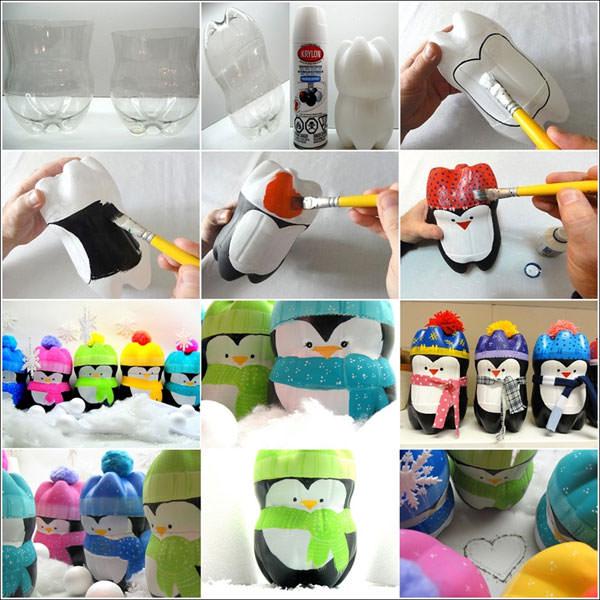 Come creare dei simpatici pinguini con fondi di bottiglie
