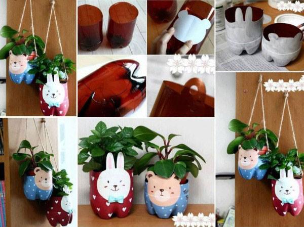 Come creare un porta piante con viso di orsetto e coniglietto