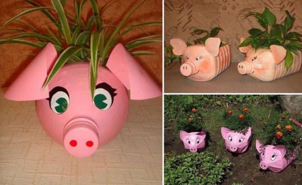 Come creare porta piante a forma di maialini con bottiglie di plastica