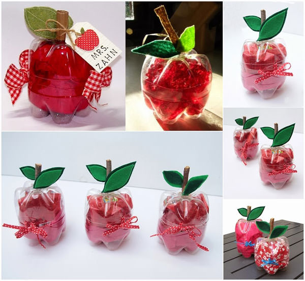 Confezione regalo a forma di mela con bottiglie di plastica