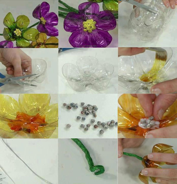 Come creare dei fiori con bottiglie di plastica