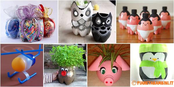 20 idee per lavoretti con bottiglie di plastica per bambini - Creazioni fai da te per la casa ...