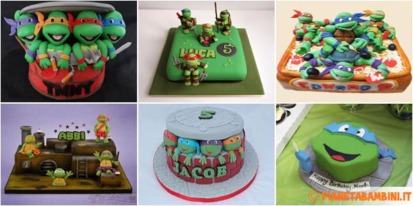 Immagini di torte delle Tartarughe Ninja con decorazioni in pasta di zucchero
