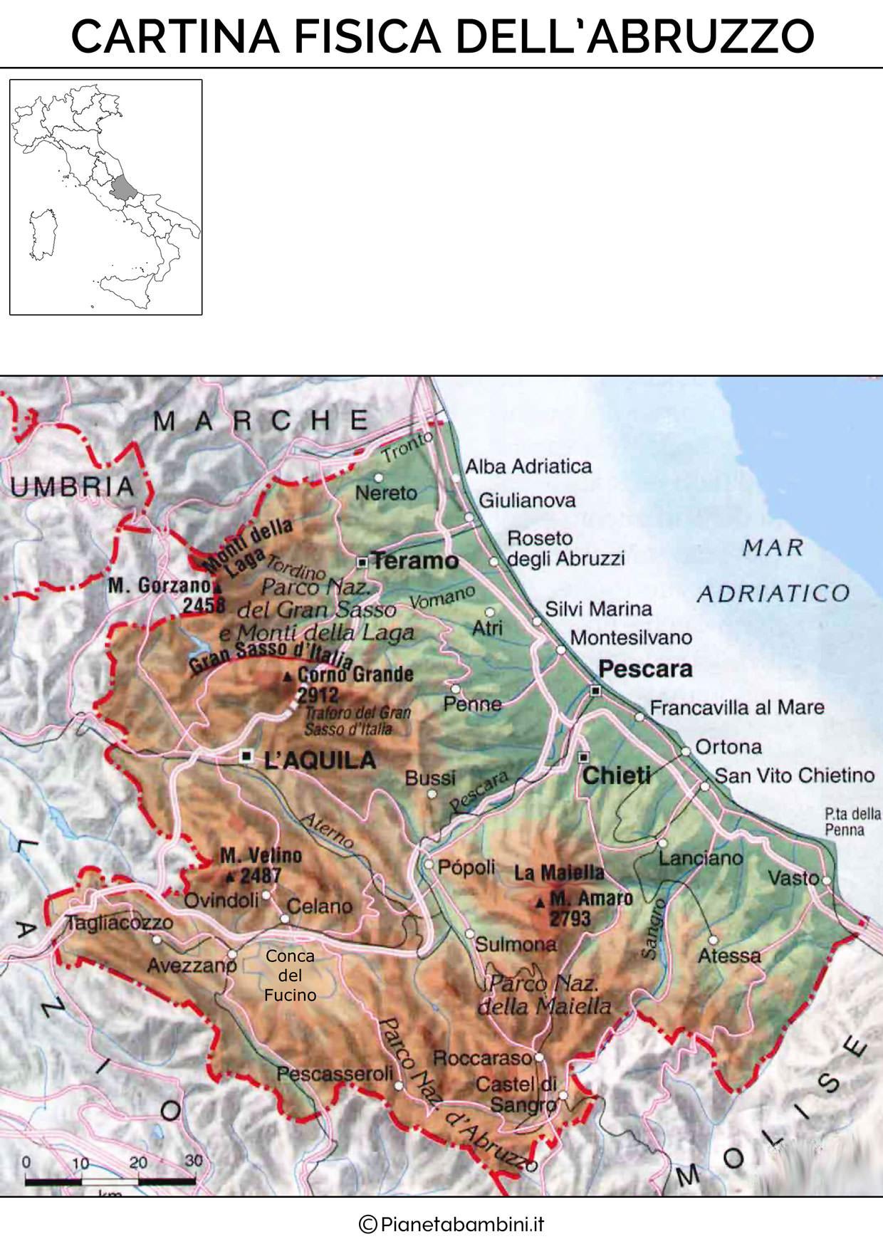 Cartina fisica dell'Abruzzo da stampare gratis