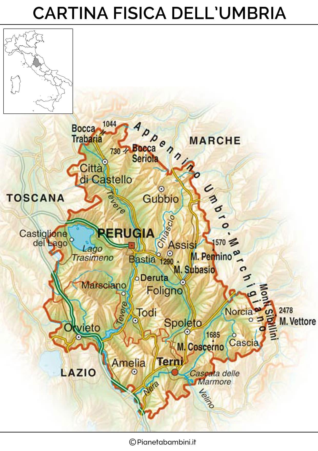 Cartina dell'Umbria in versione fisica da stampare gratis