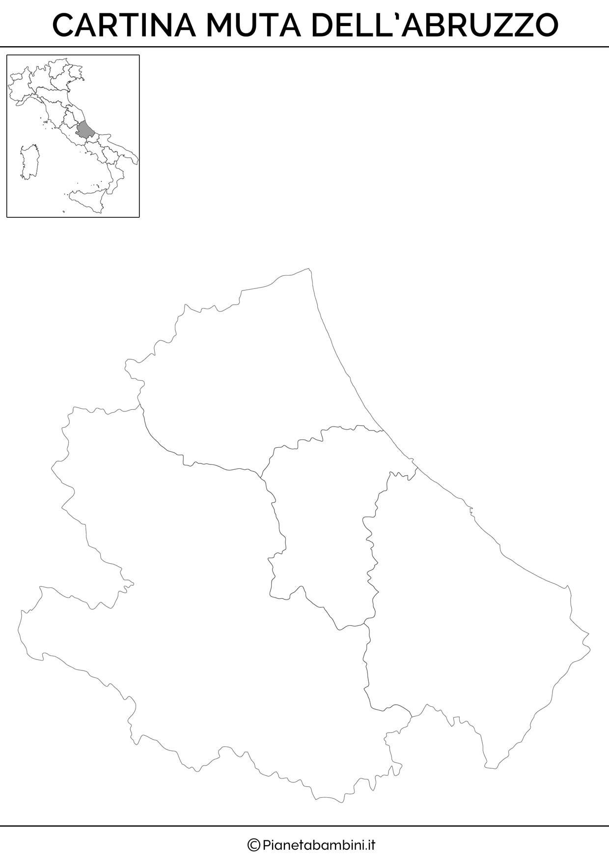 Cartina muta dell'Abruzzo da stampare gratis