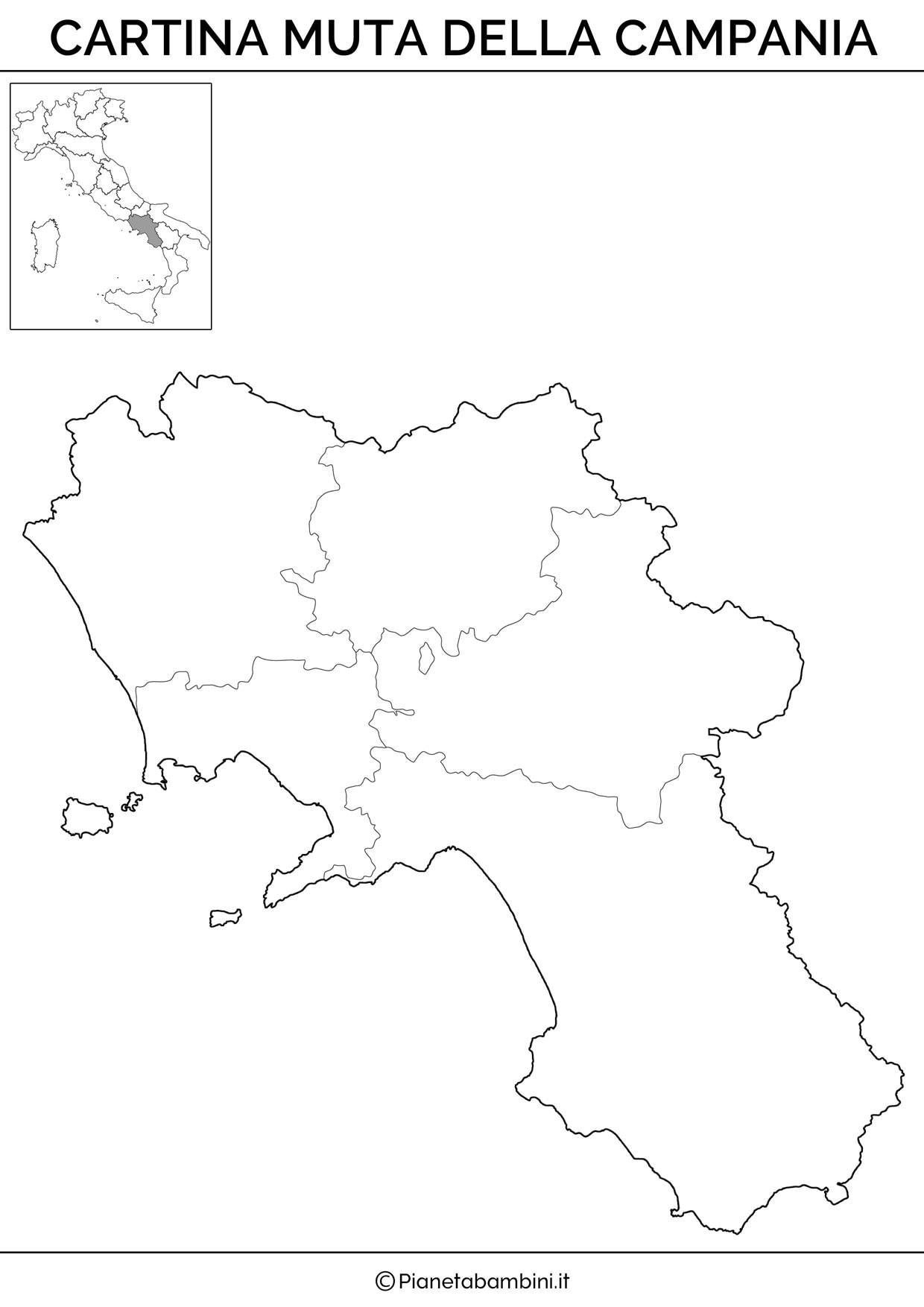 Cartina della Campania in versione muta