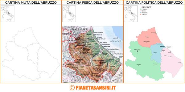 Cartina dell'Abruzzo muta, fisica e politica da stampare gratis