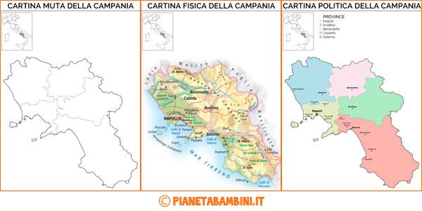 Cartina della Campania muta, fisica e politica da stampare gratis