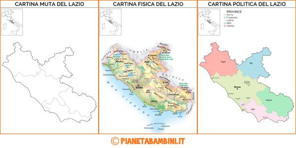 Cartina del Lazio muta, fisica e politica da stampare gratis