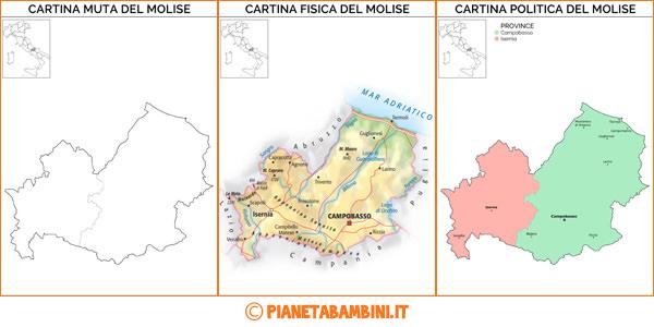 Cartina del Molise muta, fisica e politica da stampare gratis