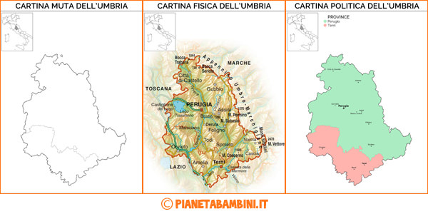 Toscana E Umbria Cartina.Cartina Muta Fisica E Politica Dell Umbria Da Stampare Pianetabambini It