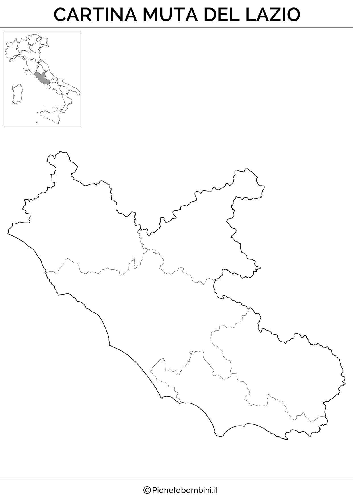 Cartina muta del Lazio da stampare gratis