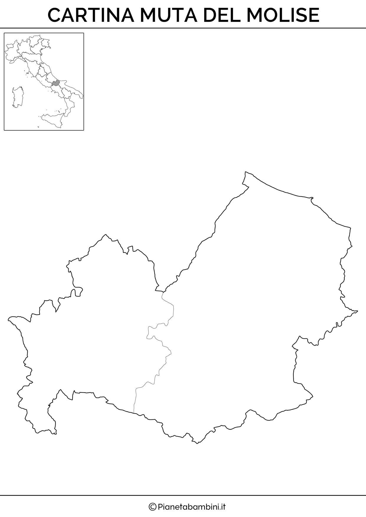 Cartina del Molise in versione muta da stampare gratis