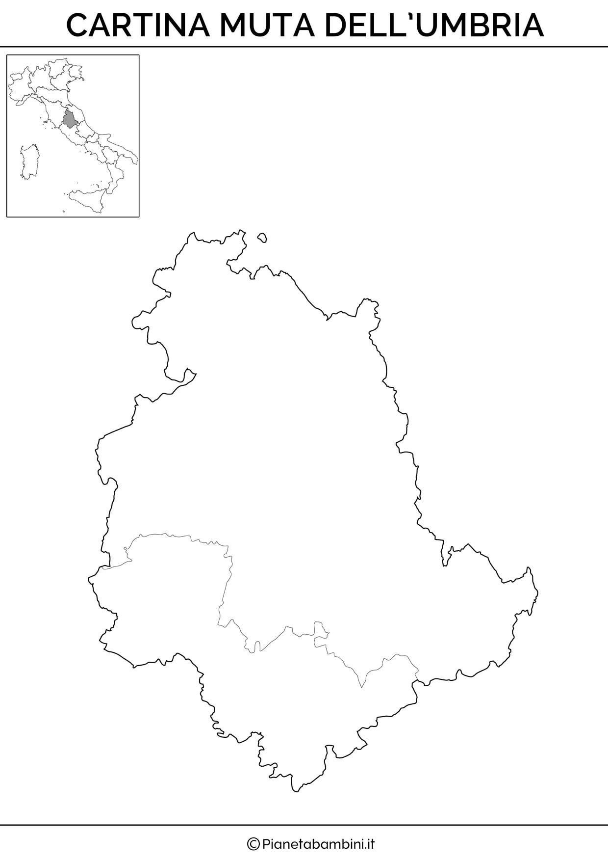 Cartina dell'Umbria in versione muta da stampare gratis