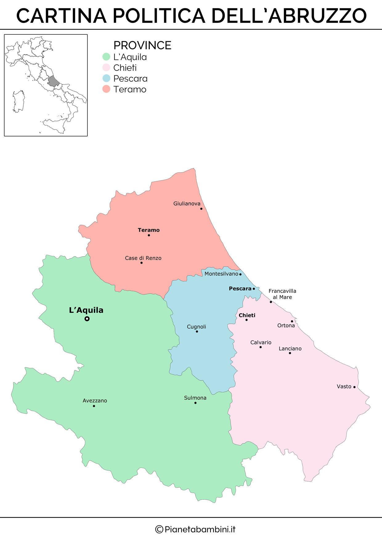Cartina politica dell'Abruzzo da stampare gratis