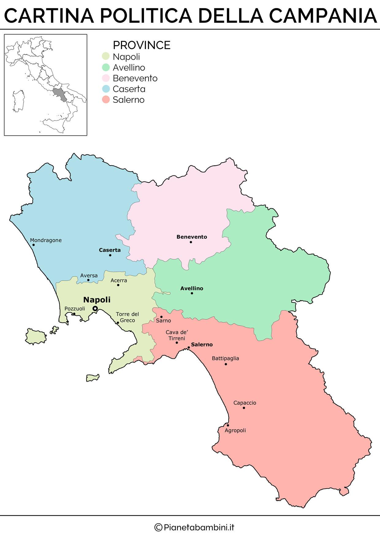 Cartina della Campania in versione politica