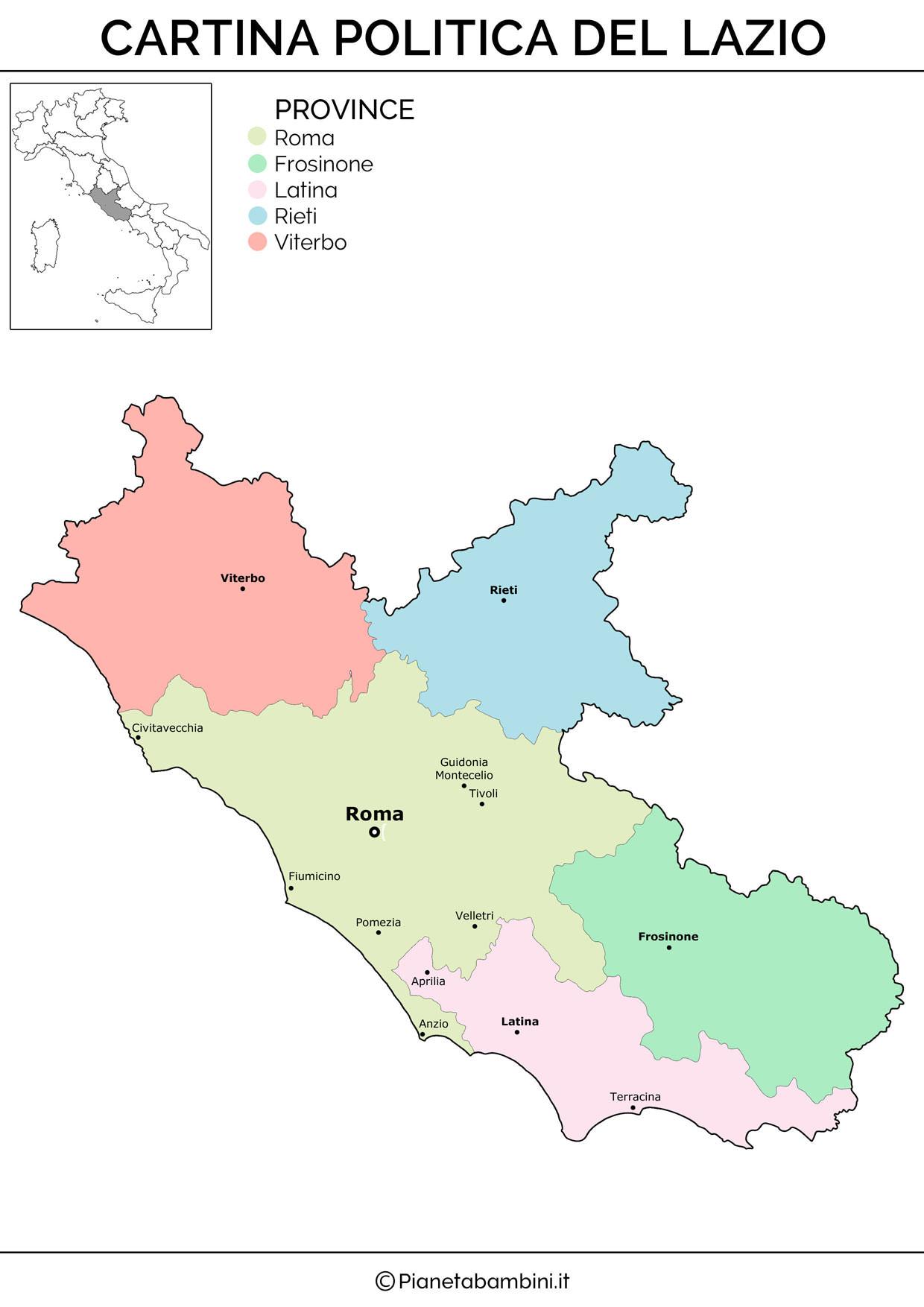 Cartina politica del Lazio da stampare gratis