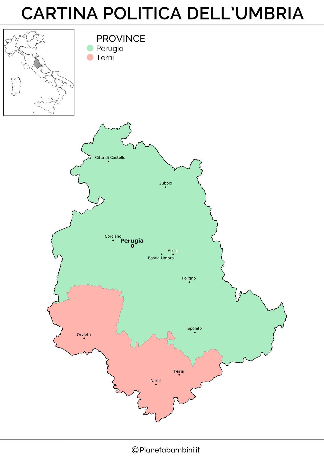 Cartina dell'Umbria in versione politica da stampare gratis