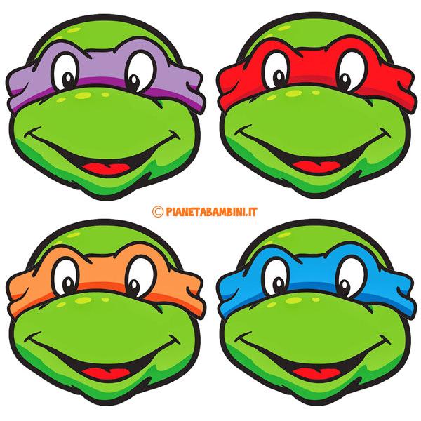 Maschere delle Tartarughe Ninja pronte da ritagliare