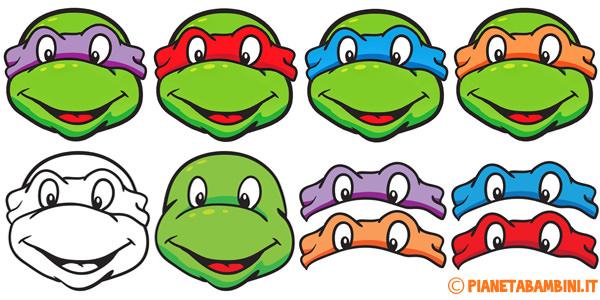 Maschere delle Tartarughe Ninja da stampare e ritagliare