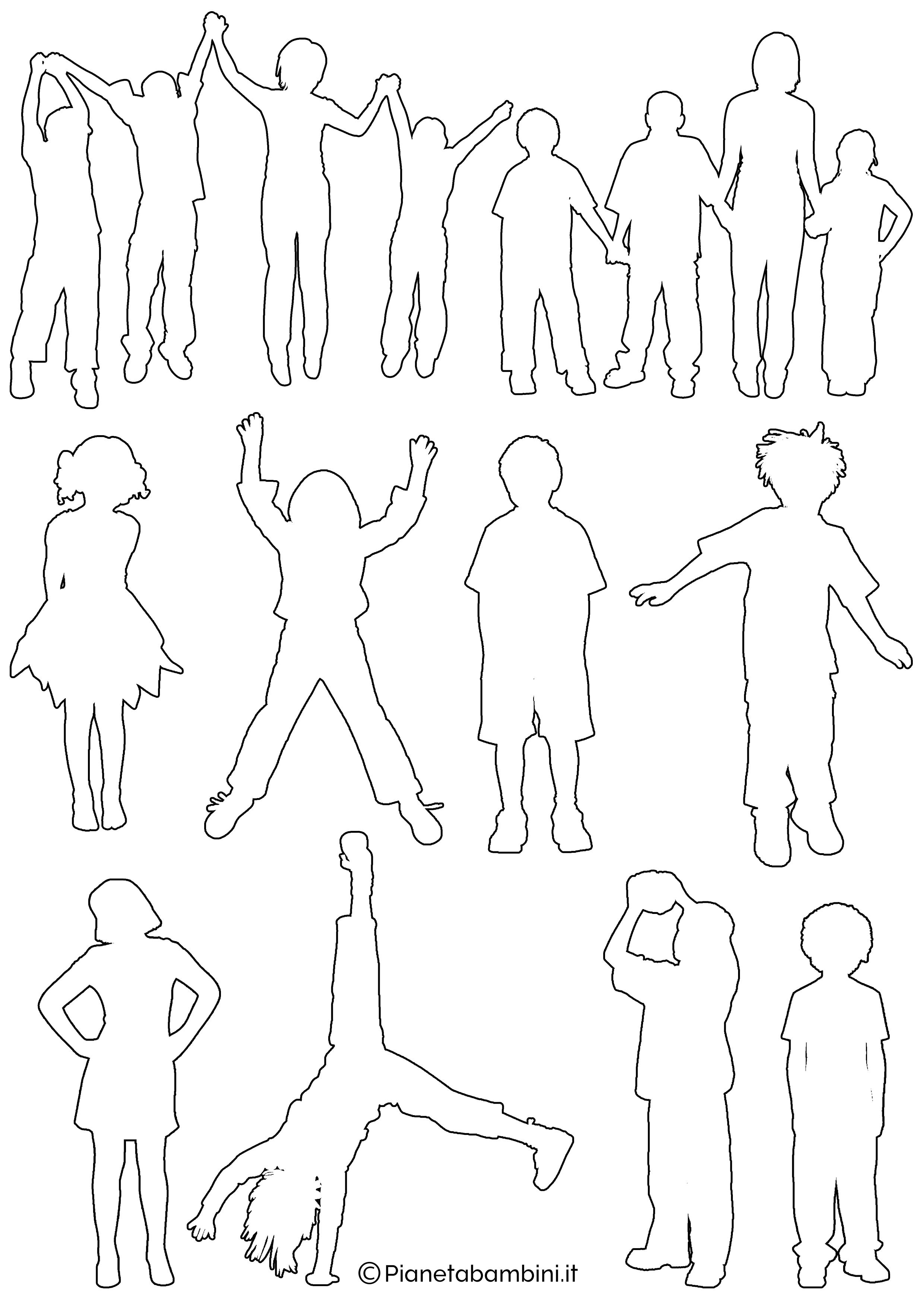 Sagome di bambini da colorare e ritagliare for Disegno bambina da colorare